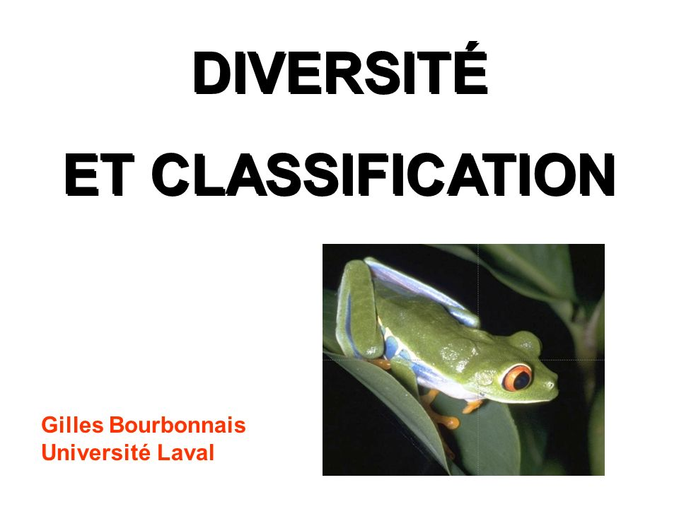 DIVERSITÉ ET CLASSIFICATION