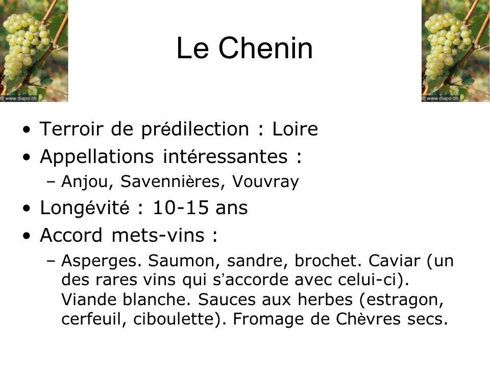 Le Chenin Terroir de prédilection : Loire Appellations intéressantes :