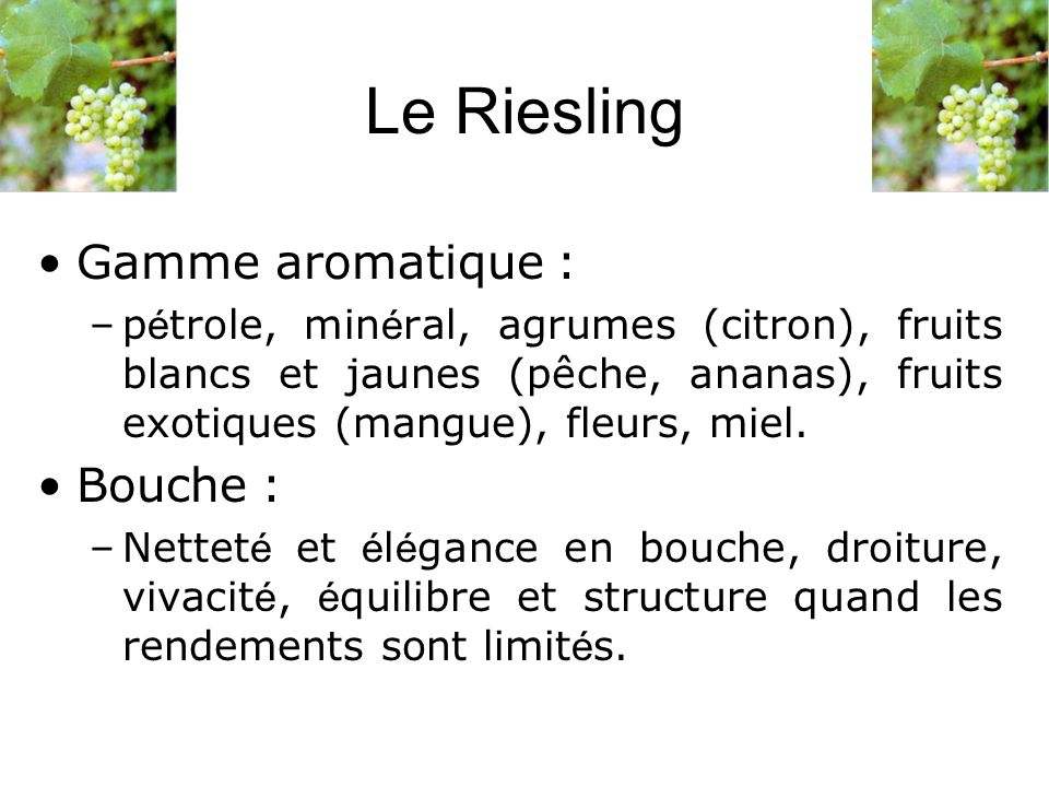 Le Riesling Gamme aromatique : Bouche :