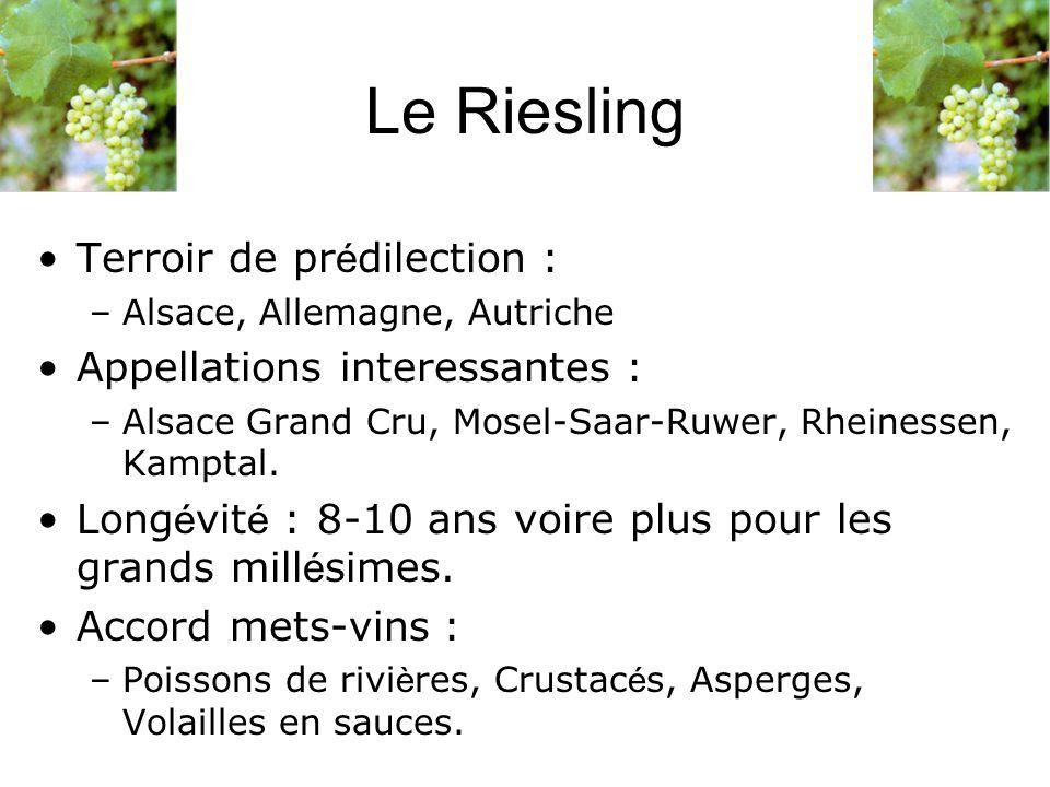 Le Riesling Terroir de prédilection : Appellations interessantes :