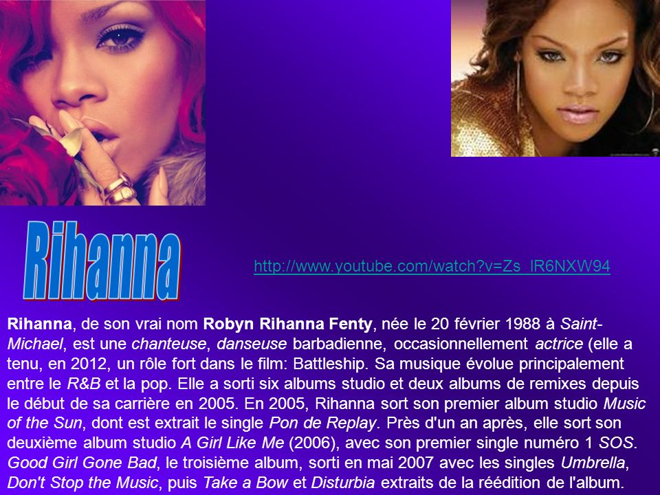 Rihanna http://www.youtube.com/watch v=Zs_lR6NXW94