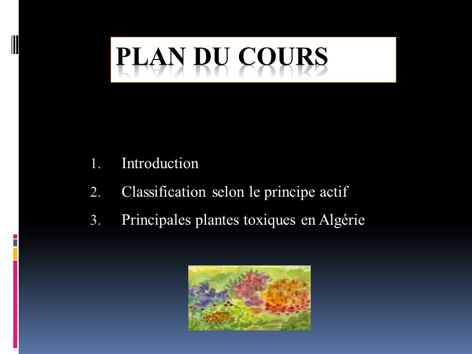 PLAN DU COURS Introduction Classification selon le principe actif