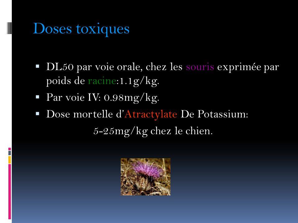 Doses toxiques DL50 par voie orale, chez les souris exprimée par poids de racine:1.1g/kg. Par voie IV: 0.98mg/kg.