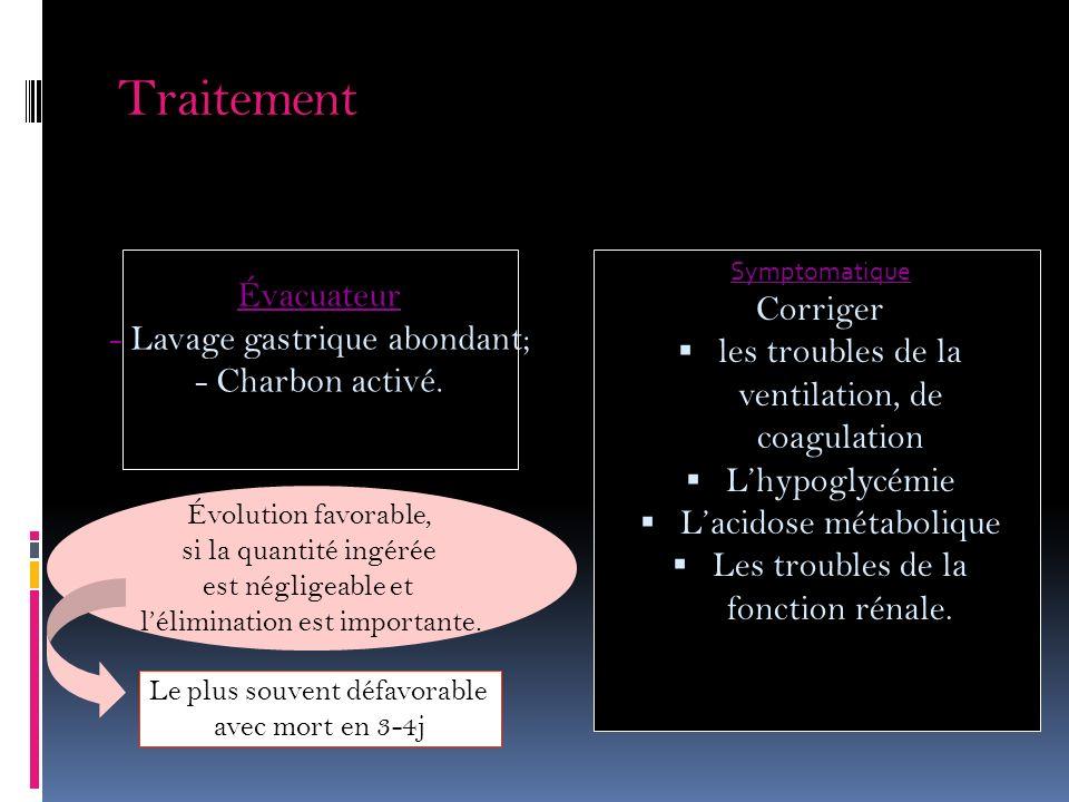 Traitement Évacuateur Corriger - Lavage gastrique abondant;