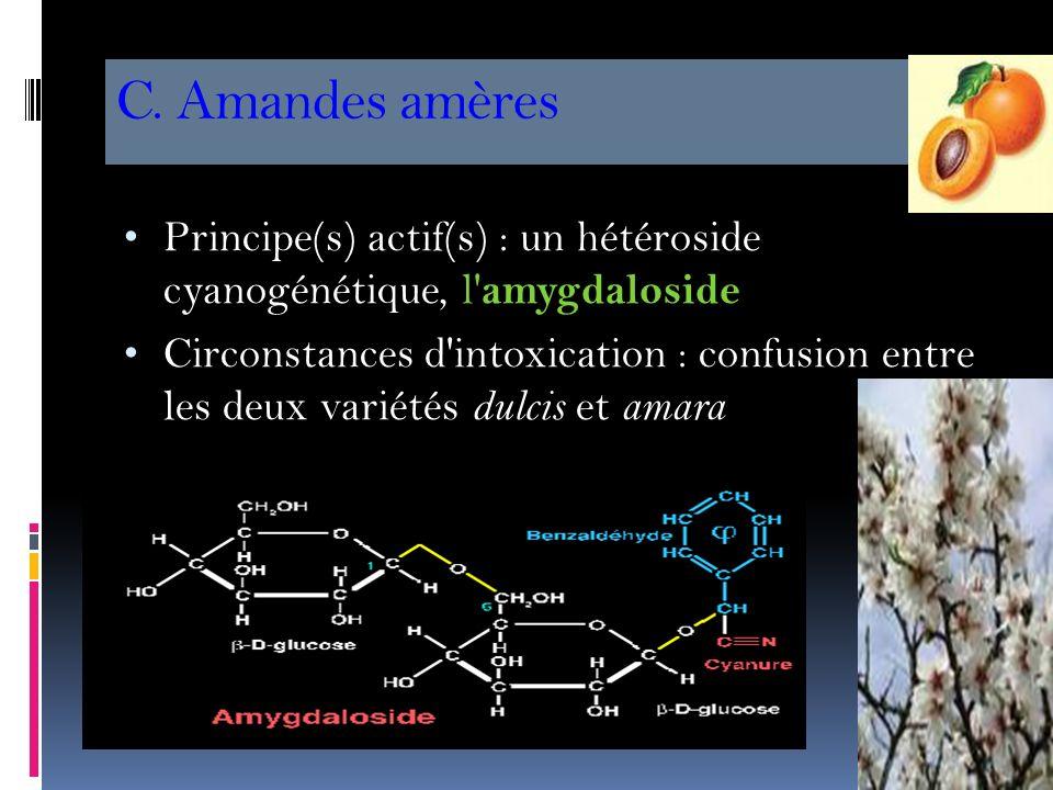 C. Amandes amères Principe(s) actif(s) : un hétéroside cyanogénétique, l amygdaloside.
