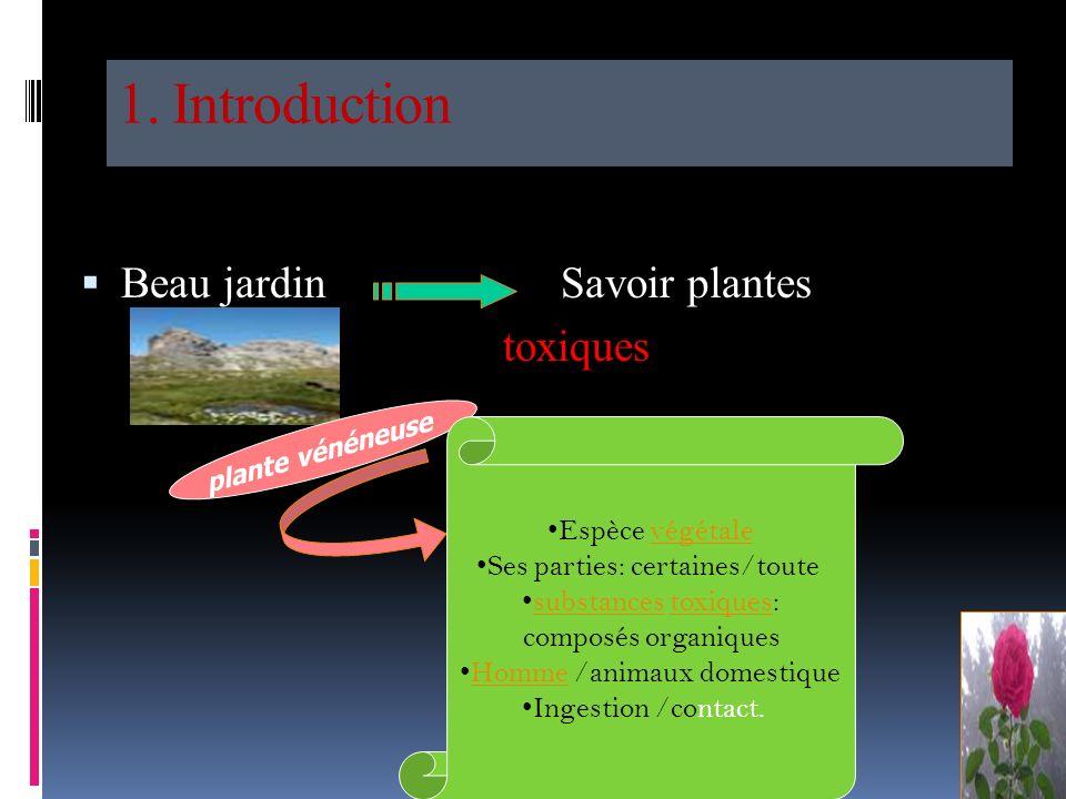 1. Introduction Beau jardin Savoir plantes toxiques Espèce végétale