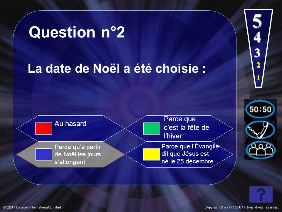 5 Question n°2 4 3 La date de Noël a été choisie : 2