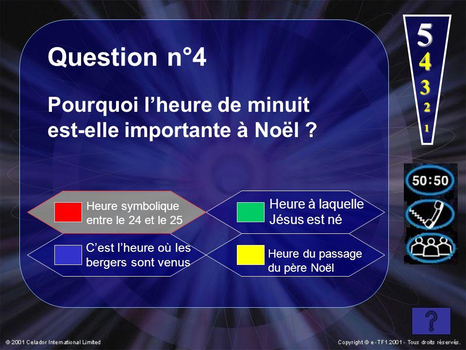 5 Question n°4. 4. 3. Pourquoi l'heure de minuit est-elle importante à Noël 2. 1. Heure à laquelle Jésus est né.