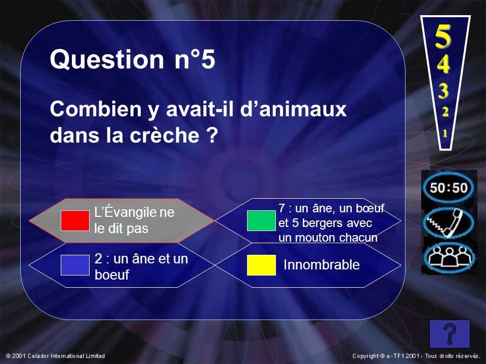 5 Question n°5 4 3 Combien y avait-il d'animaux dans la crèche 2