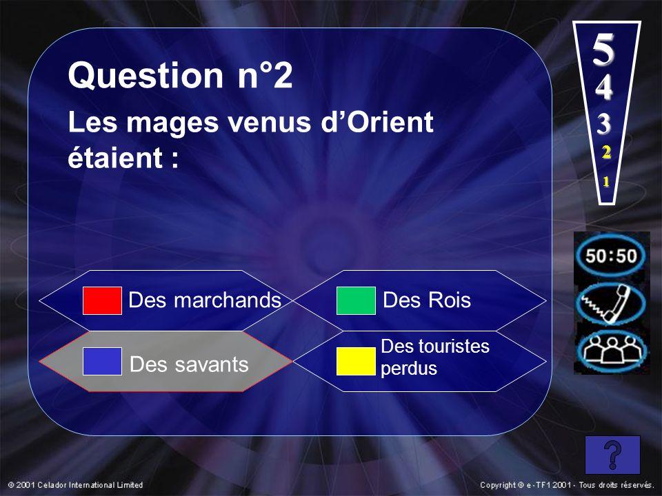 5 Question n°2 4 Les mages venus d'Orient étaient : 3 Des marchands