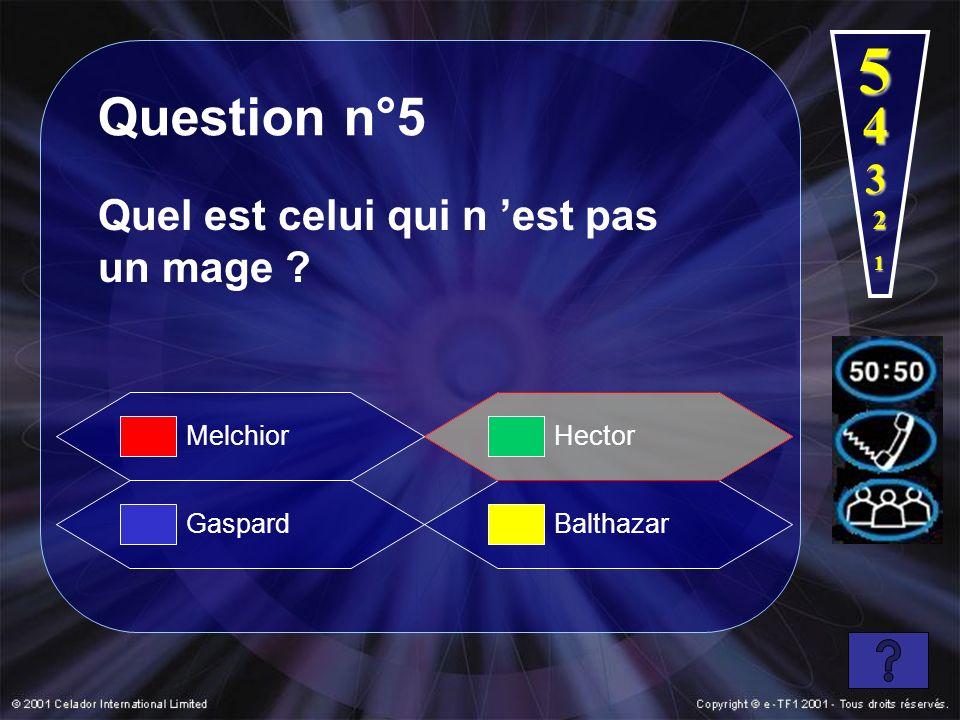 5 Question n°5 4 3 Quel est celui qui n 'est pas un mage 2 Melchior