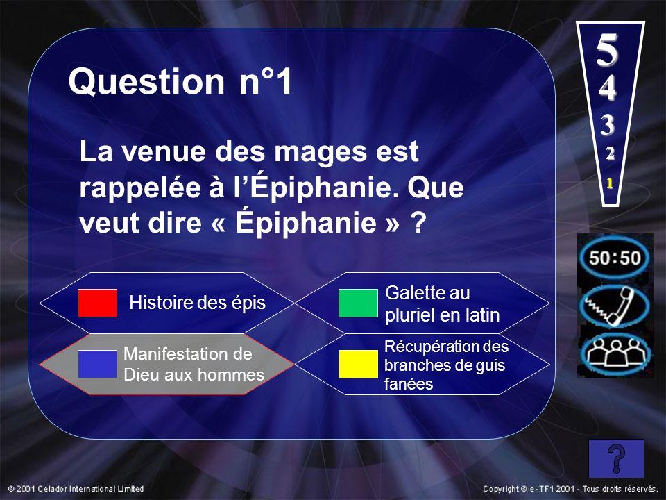 5 Question n°1. 4. 3. La venue des mages est rappelée à l'Épiphanie. Que veut dire « Épiphanie »