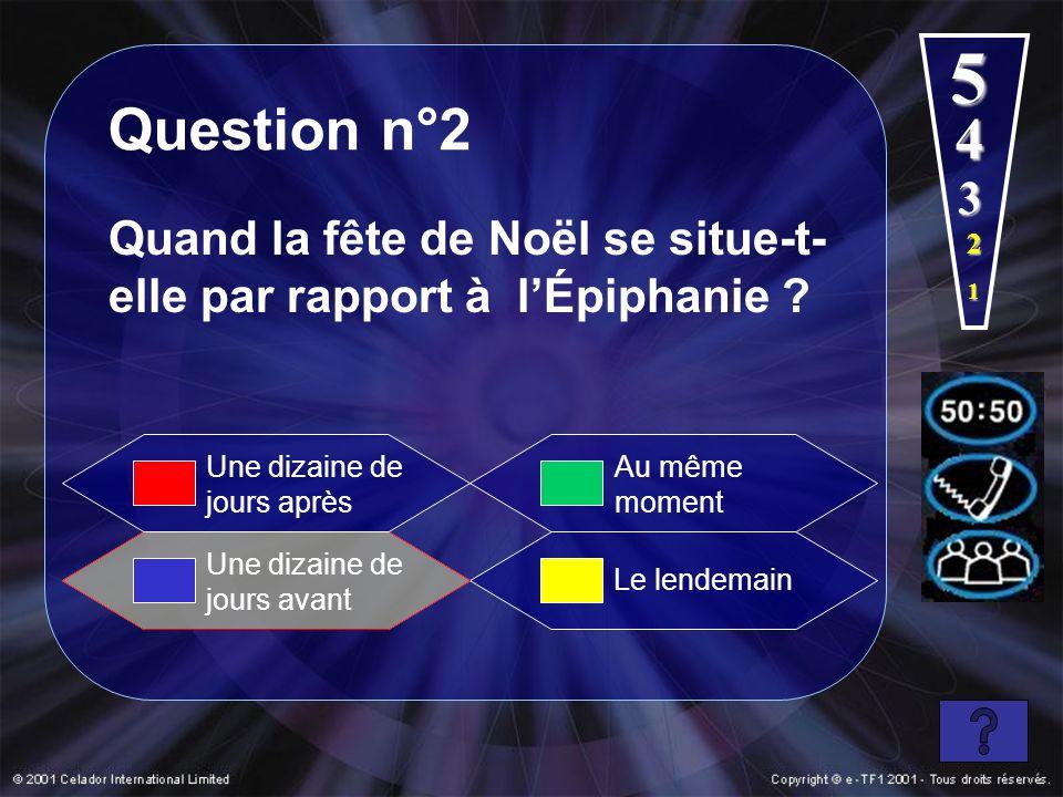 5 Question n°2. 4. 3. Quand la fête de Noël se situe-t-elle par rapport à l'Épiphanie 2. 1.
