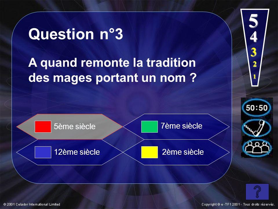 5 Question n°3. 4. 3. A quand remonte la tradition des mages portant un nom 2. 1. 5ème siècle.