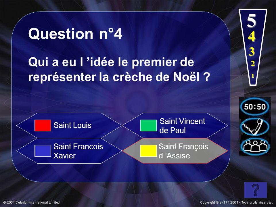 5 Question n°4. 4. 3. Qui a eu l 'idée le premier de représenter la crèche de Noël 2. 1. Saint Vincent de Paul.