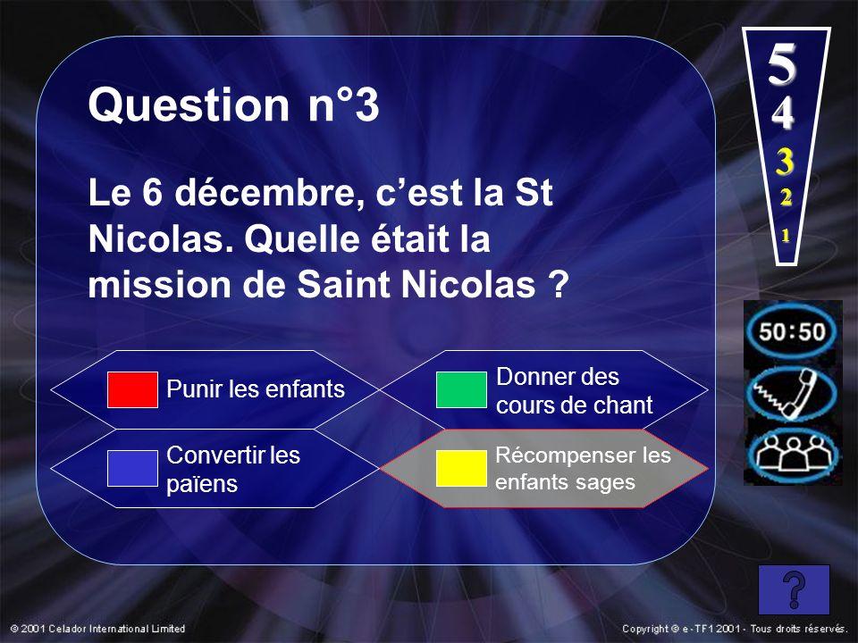 5 Question n°3. 4. 3. Le 6 décembre, c'est la St Nicolas. Quelle était la mission de Saint Nicolas
