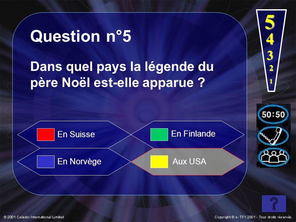 5 Question n°5. 4. 3. Dans quel pays la légende du père Noël est-elle apparue 2. 1. En Suisse.