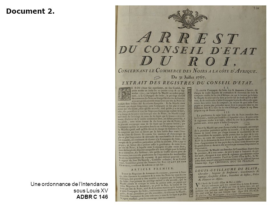 Document 2. Une ordonnance de l'Intendance sous Louis XV ADBR C 146