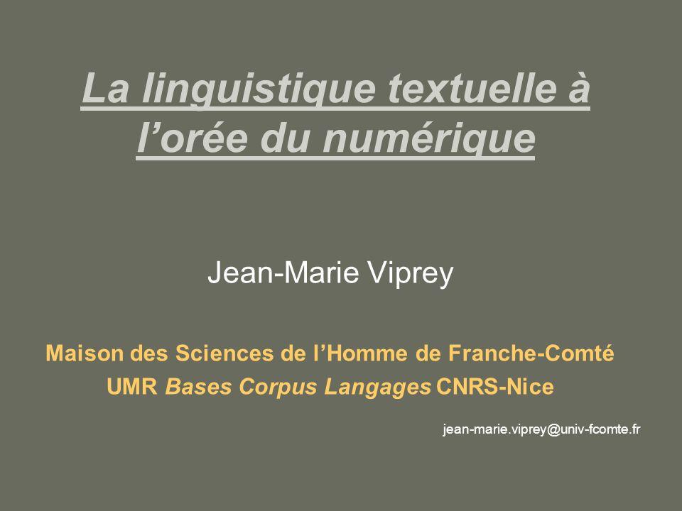 La linguistique textuelle à l'orée du numérique