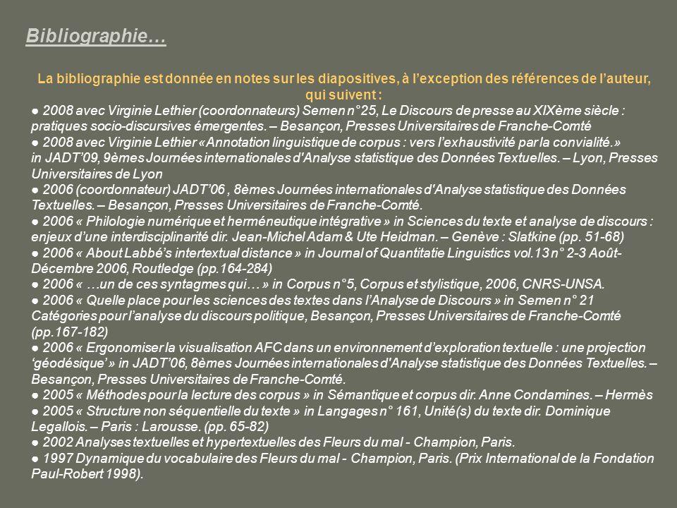 Bibliographie… La bibliographie est donnée en notes sur les diapositives, à l'exception des références de l'auteur, qui suivent :