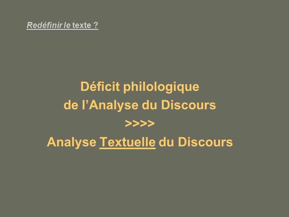 de l'Analyse du Discours Analyse Textuelle du Discours