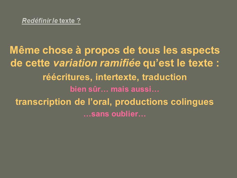 Redéfinir le texte Même chose à propos de tous les aspects de cette variation ramifiée qu'est le texte :