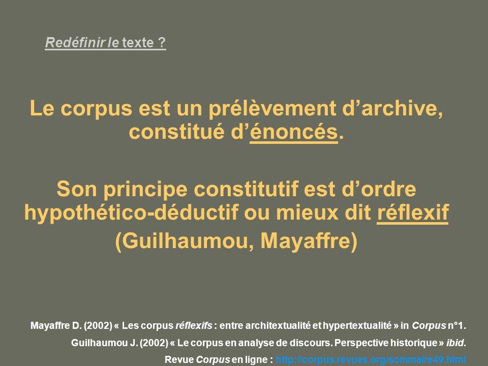 Le corpus est un prélèvement d'archive, constitué d'énoncés.
