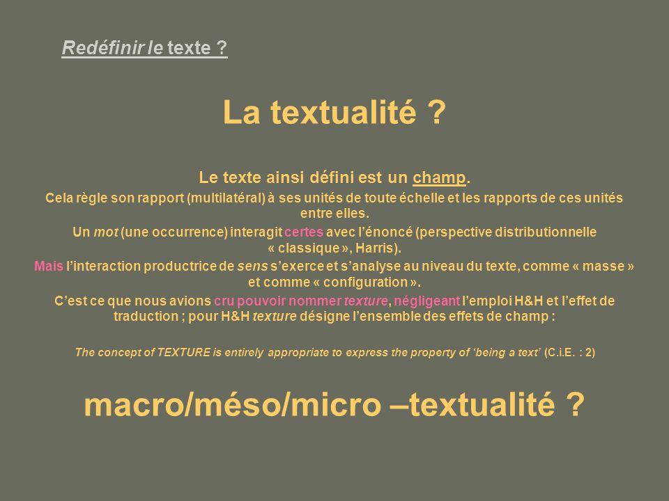 Le texte ainsi défini est un champ. macro/méso/micro –textualité