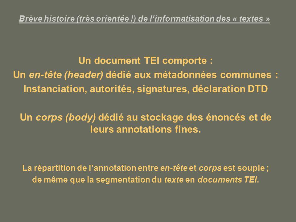Brève histoire (très orientée !) de l'informatisation des « textes »