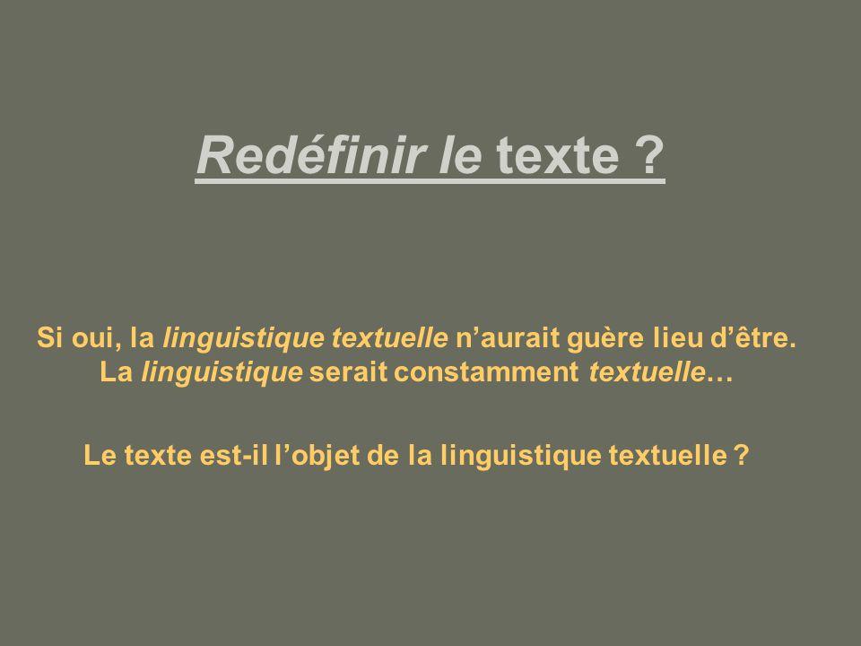 Le texte est-il l'objet de la linguistique textuelle