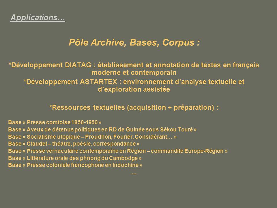 Pôle Archive, Bases, Corpus :