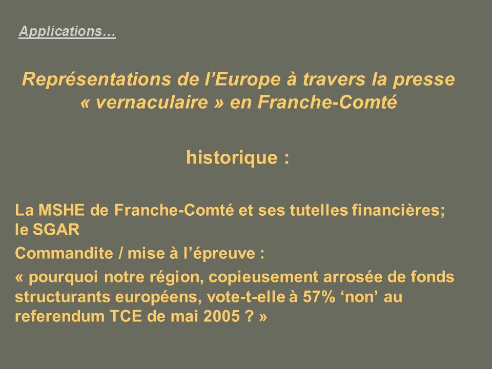 Applications… Représentations de l'Europe à travers la presse « vernaculaire » en Franche-Comté. historique :