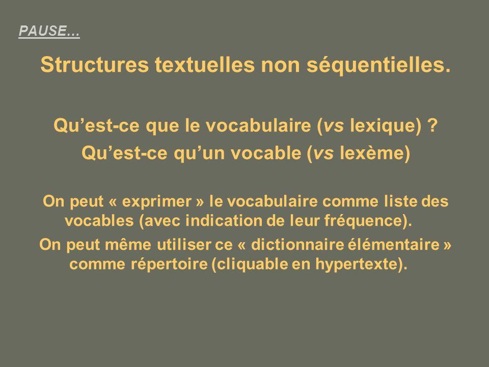 Structures textuelles non séquentielles.