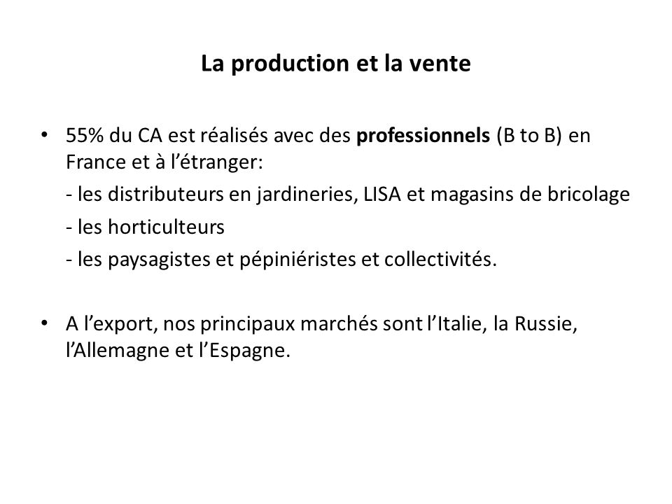 La production et la vente