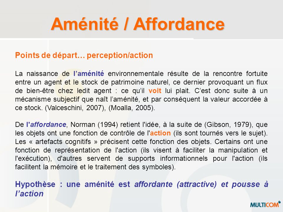Aménité / Affordance Points de départ… perception/action