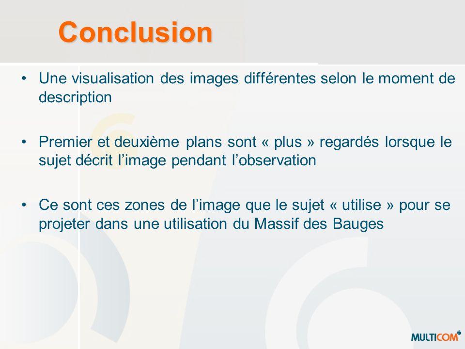 Conclusion Une visualisation des images différentes selon le moment de description.