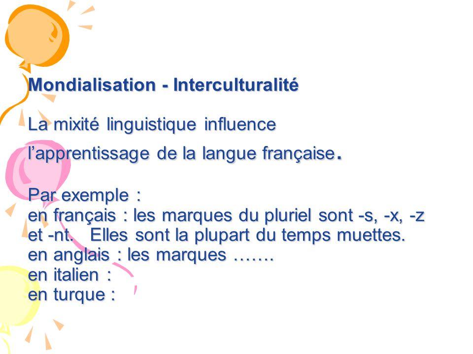 Mondialisation - Interculturalité La mixité linguistique influence l'apprentissage de la langue française.