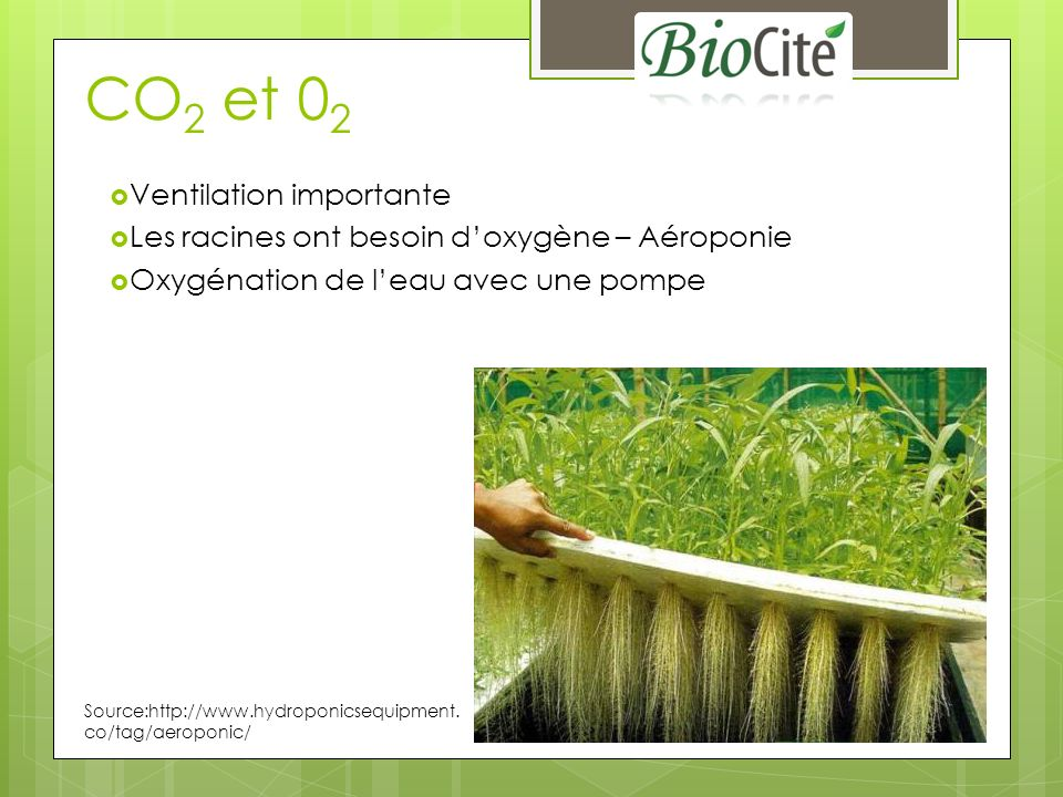 CO2 et 02 Ventilation importante