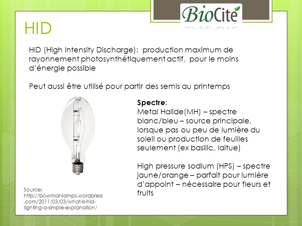 HID HID (High Intensity Discharge): production maximum de rayonnement photosynthétiquement actif, pour le moins d'énergie possible.