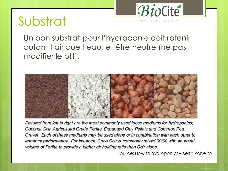 Substrat Un bon substrat pour l'hydroponie doit retenir autant l'air que l'eau, et être neutre (ne pas modifier le pH).