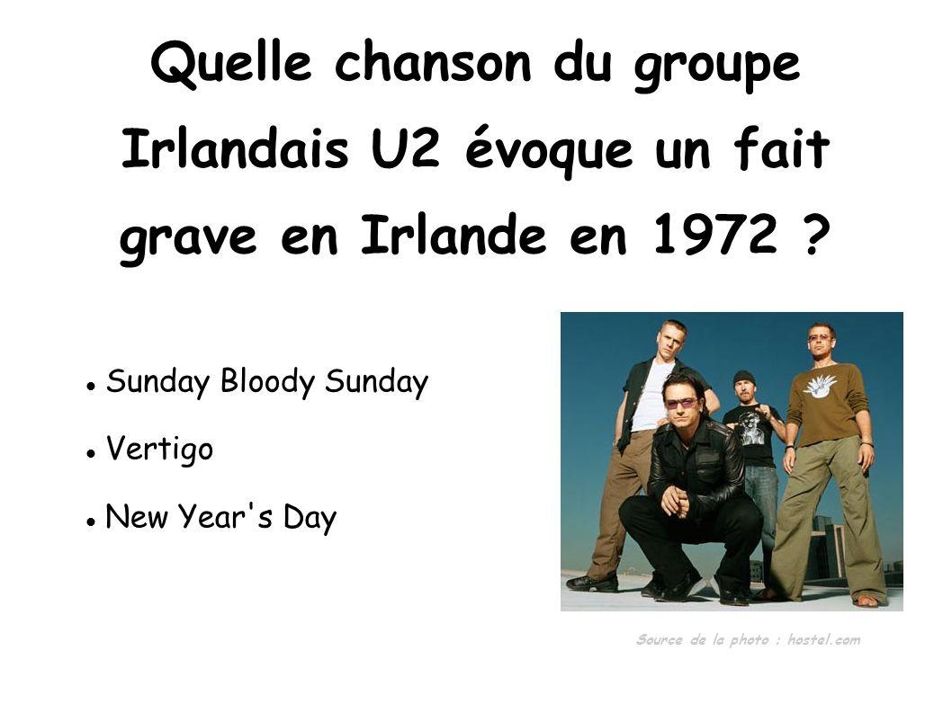 Quelle chanson du groupe Irlandais U2 évoque un fait
