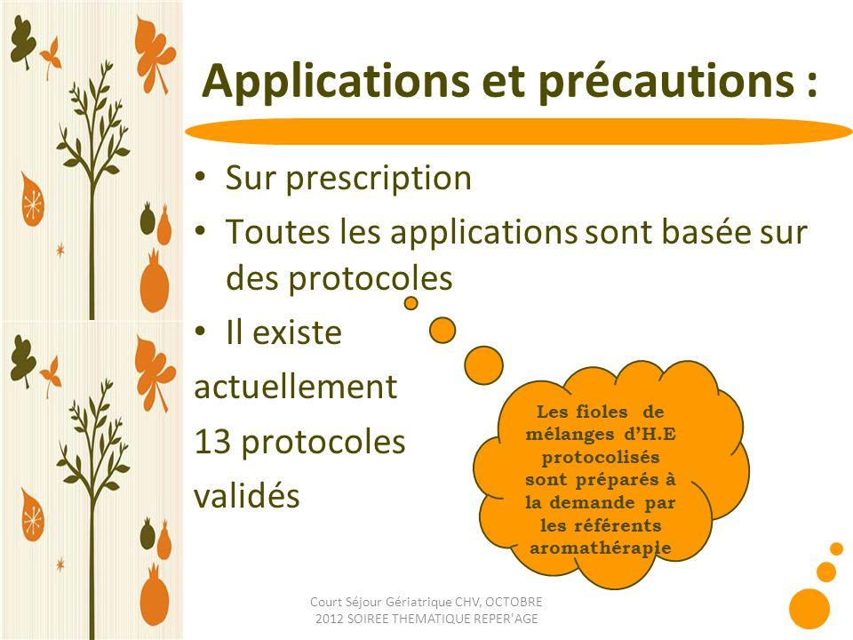 Applications et précautions :