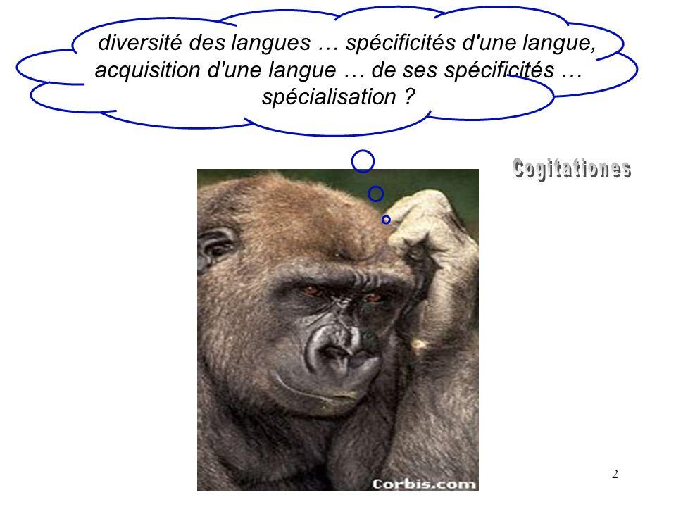 diversité des langues … spécificités d une langue, acquisition d une langue … de ses spécificités … spécialisation