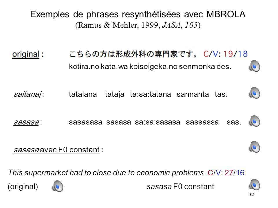 Exemples de phrases resynthétisées avec MBROLA (Ramus & Mehler, 1999, JASA, 105)