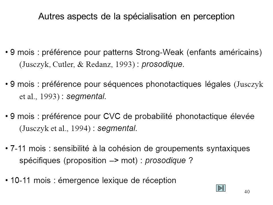 Autres aspects de la spécialisation en perception
