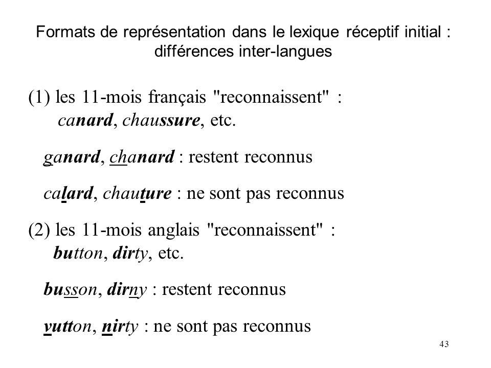(1) les 11-mois français reconnaissent : canard, chaussure, etc.