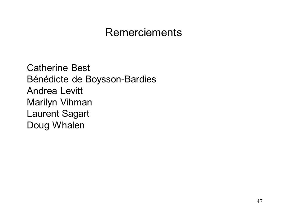Remerciements Catherine Best Bénédicte de Boysson-Bardies Andrea Levitt Marilyn Vihman Laurent Sagart Doug Whalen.