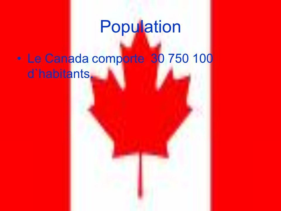 Population Le Canada comporte 30 750 100 d`habitants.