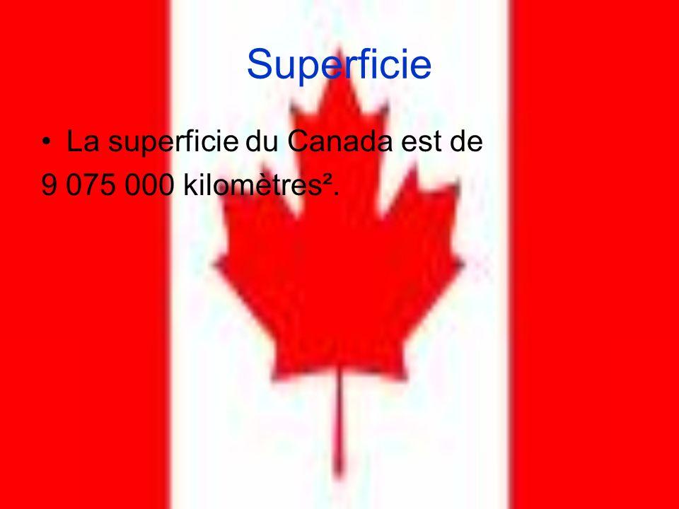 Superficie La superficie du Canada est de 9 075 000 kilomètres².