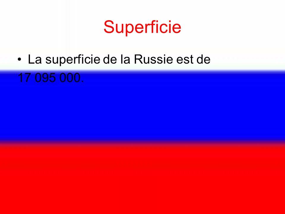 Superficie La superficie de la Russie est de 17 095 000.